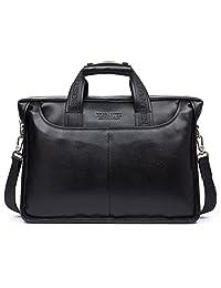 BOSTANTEN Leather Briefcase Laptop Bag with Messenger Bag for Men Black Medium