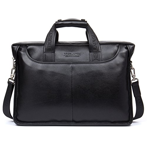 Black Leather Briefcase Laptop Case Handbag Business Bags for Men
