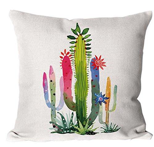 Cotton Linen Green plants Succulents Cactus Prickly Pear Square Throw Waist Pillow Case Decorative Cushion Cover Pillowcase Sofa 18x 18 (4)