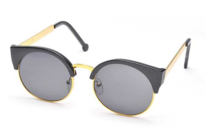 2f61f436e56 Flowertree Women s Plastic Browline Flat Temple Cat-eye Sunglasses (blk ...