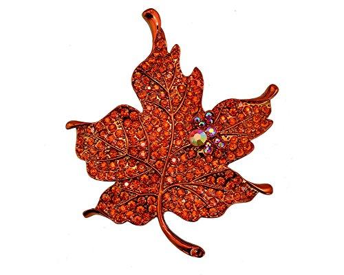 TTjewelry Silver Tone Elegant Maple Leaf Red Rhinestone Crystal Woman Vintage Brooch Pin