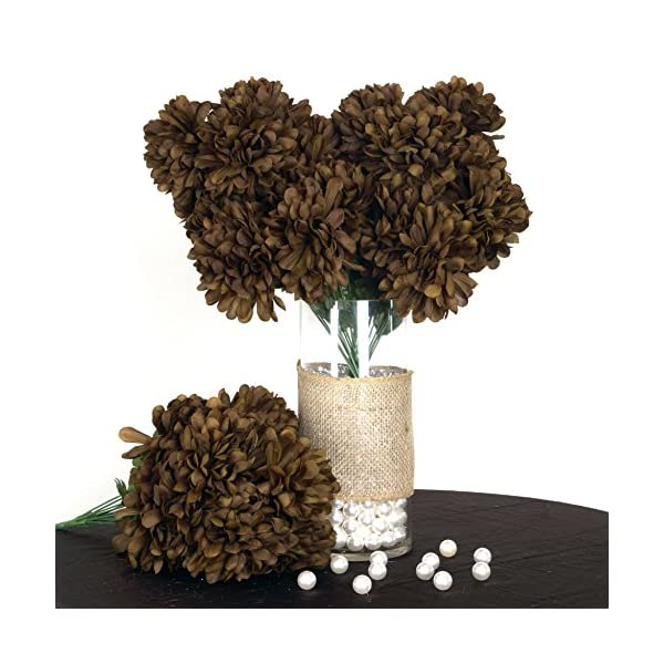 BalsaCircle 56 Chocolate Brown Silk Chrysanthemums – 4 Bushes – Artificial Flowers Wedding Party Centerpieces Arrangements Bouquets Supplies