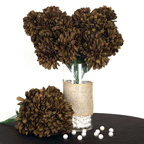 BalsaCircle 56 Chocolate Brown Silk Chrysanthemums - 4 Bushes - Artificial Flowers Wedding Party Centerpieces Arrangements Bouquets Supplies ()