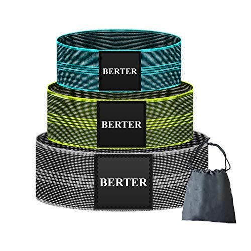 BERTER Resistance Bands for Legs and Butt, Workout Exercise Bands Non-Slip Fitness Booty Loop Bands Perfect for Squats, Deadlifts, Pack of 3