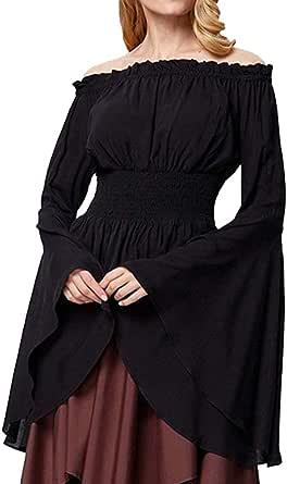 Mujeres Renacimiento Disfraz Medieval Gypsy Off Hombro Top Flare Manga Vintage Lolita Camisa Top