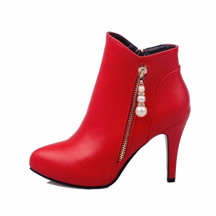 AgooLar Damen Reißverschluss Rund Zehe Hoher Absatz Niedrig-Spitze Stiefel, Rot, 36