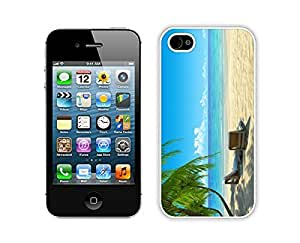 Nice Apple Iphone 4s Case Durable Soft Silicone TPU Chairs on Beach W Palmtrees Diy White Mobile Phone Case Cover for Iphone 4