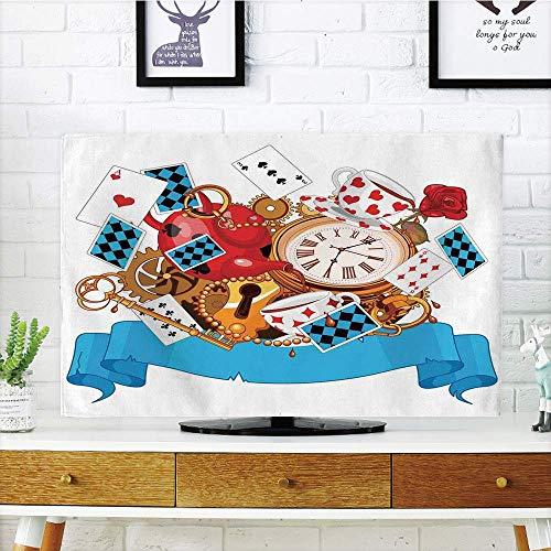 Curved Teapot - yuqiang LCD TV dust Cover,Alice in Wonderland,Mad Design of Cards Clocks Tea Pots Keys Flowers Fantasy World Illustration Decorative,Multi,3D Print Design Compatible 47