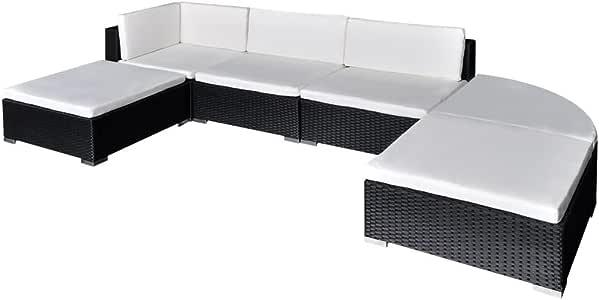 vidaXL Muebles de Jardín 16 Piezas Ratán PE Negro y Blanco Mobiliario Exterior: Amazon.es: Hogar