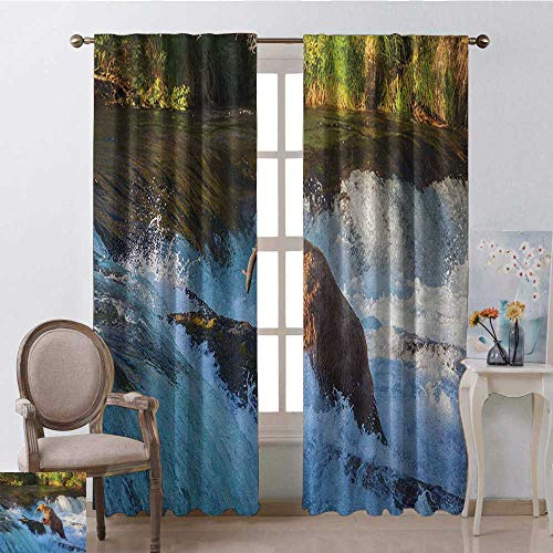GUUVOR Waterfall Wear-Resistant Color Curtain Image of Large Bear by a Rock in Alaska Waterfall Wildlife in Earth Art Print Waterproof Fabric W52 x L72 Inch Multicolor