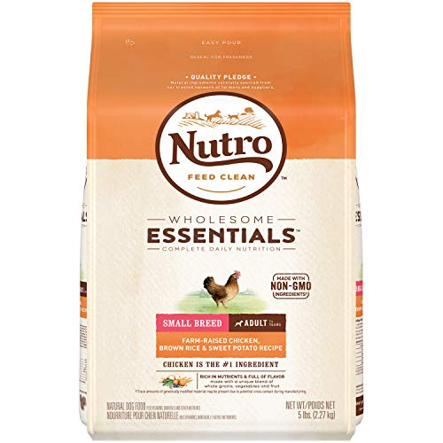 NUTRO WHOLESOME ESSENTIALS Natural Small Breed Adult Dry Dog Food Farm-Raised Chicken, Brown Rice & Sweet Potato Recipe, 5 lb. Bag (Best Dog Food For St Bernard)