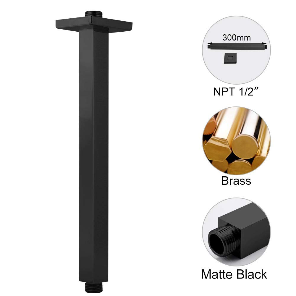 EMBATHER Brass Ceiling Shower Arm,Black Universal Shower Straight Wall-Mounted Shower Arm with Flange for 8//10//12//14 Bathroom Rainfall Showerhead