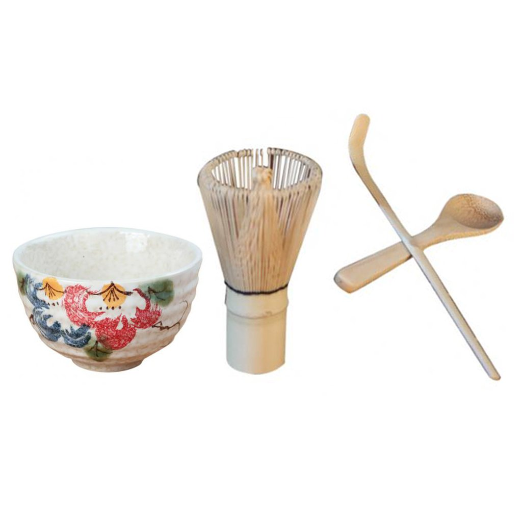 MagiDeal Chasen Whisk Tea Scoop Spoon Matcha Whisk Japanese Tea Ceramic Bowl - Peony Pattern Durable Matcha Powder Tool 4-Piece Tea Ceremony Supplies