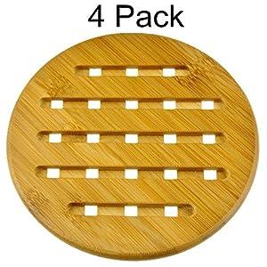 "MelonBoat 4 Pack Bamboo Trivet Mat Set, Heavy Duty Hot Pot Holder Pads, 7"" Round"