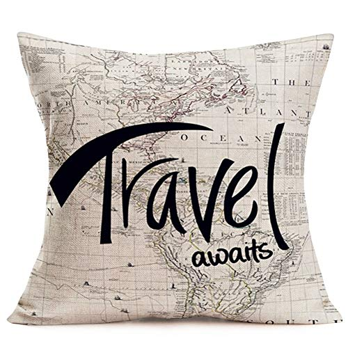 Hopyeer Throw Pillow Covers Vintage Antique World Map Decorative Cotton Linen Geographical Travel Awaits Words Pattern Standard Cushion Case Cover Decor Sofa Couch Bedroom 18