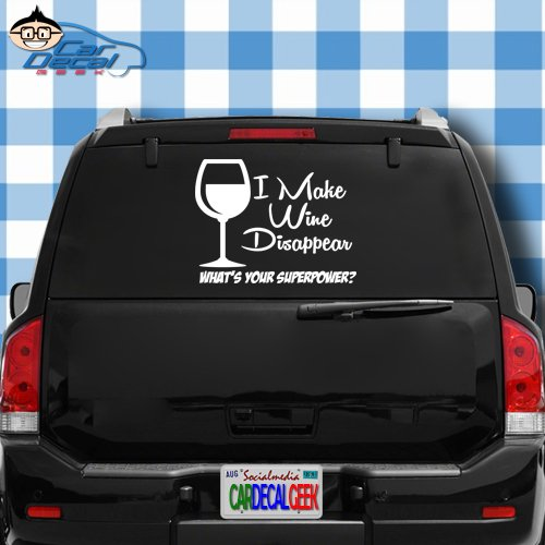 I Make Wine Disappear What's Your Superpower Vinyl Decal Sticker for Car Truck Window Laptop Macbook Wall Cooler Tumbler   Die-cut/No Background   Multiple Sizes and Colors, 8-Inch - Blue
