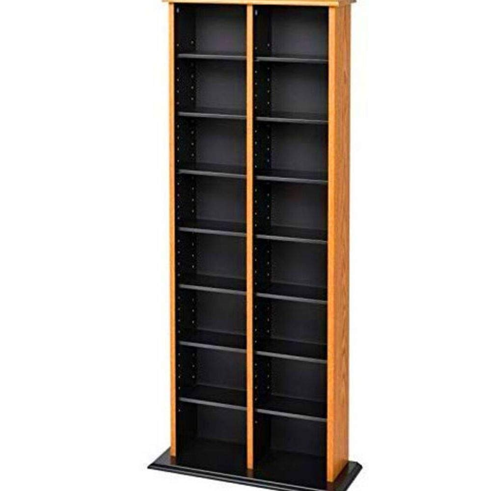 CD Dvd Storage Rack Organizer Cabinet VHS Blu-Ray Slim Media Storage Tower Decorative Accessories Media Shelf Library Multimedia Display Wood Cabinet Furniture Shelves Oak Black & eBook by BADA shop by BS