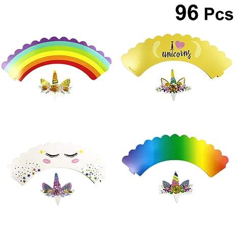YeahiBaby 96pcs Unicorn Bithday Cupcake Topper y envolturas para niños Bithday Baby Shower Party Supplies decoración