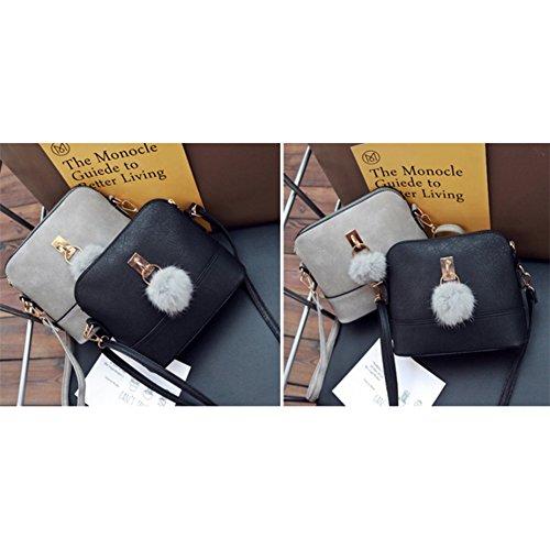 Cross Gift body Messenger Shoulder Bag Stylish Shell Pretty Bag Women Hairball Black bag Bag Fashionwu Single qPEtwOp