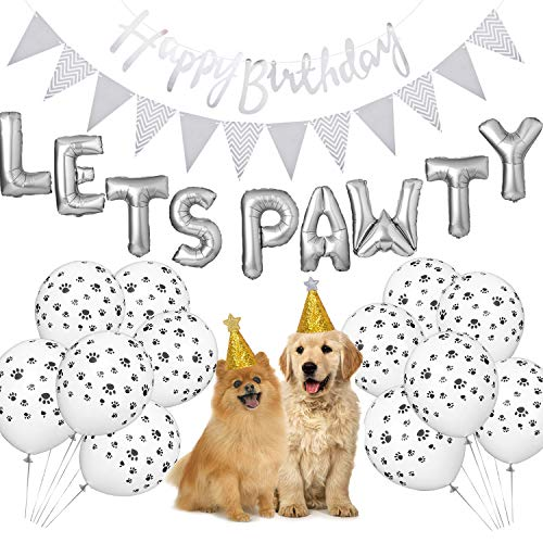 Dog Birthday Party Supplies, Lets Pawty Balloons Banner,Paw Print Balloons, Pet Birthday Hat Happy Birthday Banner Foil -