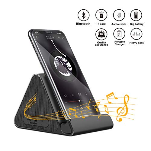 Ultra Portable Wireless Bluetooth Speaker, Wireless Speaker with Desktop Cradle, Device Stand with Built-in Mic for iPhone iPad Samsung Android and More - Black