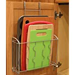 SimpleHouseware Over the Cabinet Door Organizer Holder, Silver 9 Please Measure Before Making Purchase: Basket Dimension (Wall-mounted): 13.5'' L x 9.5'' H x 3.62'' D; Over the Door Height: 18.5 inches Installations: over-the-cabinet, inside cabinet door-mounted or wall-mounted. Hardware screws included Great organizer for cutting board, bakeware pan, cookie sheet or plastic food wrap in the kitchen; or bathroom supplies in the bathroom.