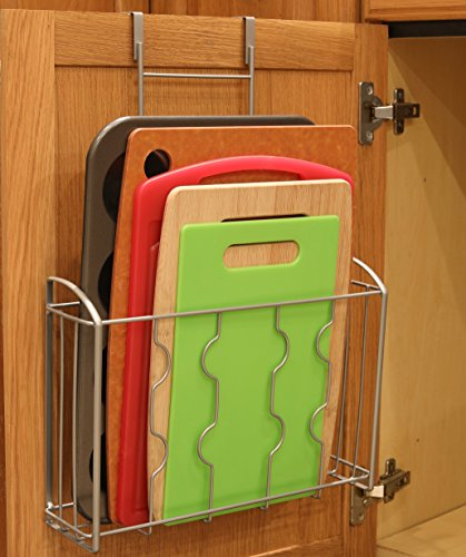 SimpleHouseware Over the Cabinet Door Organizer Holder, Silver