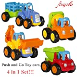 Ange-la Best Engineer Vehicle Toy Set --- Wind and Watch it Go --- 4 Push and Go Friction Powered Car Toys in 1 Set for Toddler - Tractor, Bull Dozer truck, Cement Mixer, Dump truck No Battries Needed