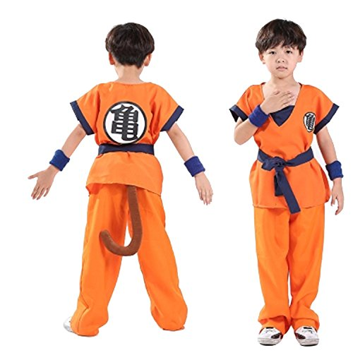 Goku Dragon Ball Z Costumes (Unisex Adluit and Child Dragon Ball Z Son Goku Cosplay Costume Kids Halloween Kung Fu Suit (165-180CM, Adult Roshi))
