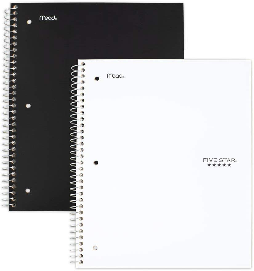 Five Star Quadrille-Ruled Notebook Assorted Colors 8 1//2 x 11 No Color Choice 100 Sheets