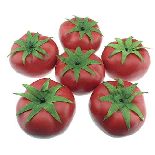 Gresorth 6pcs Artificial Lifelike Simulation Tomato Fake Fruit Vegetable Home Party Kitchen Decoration Food -