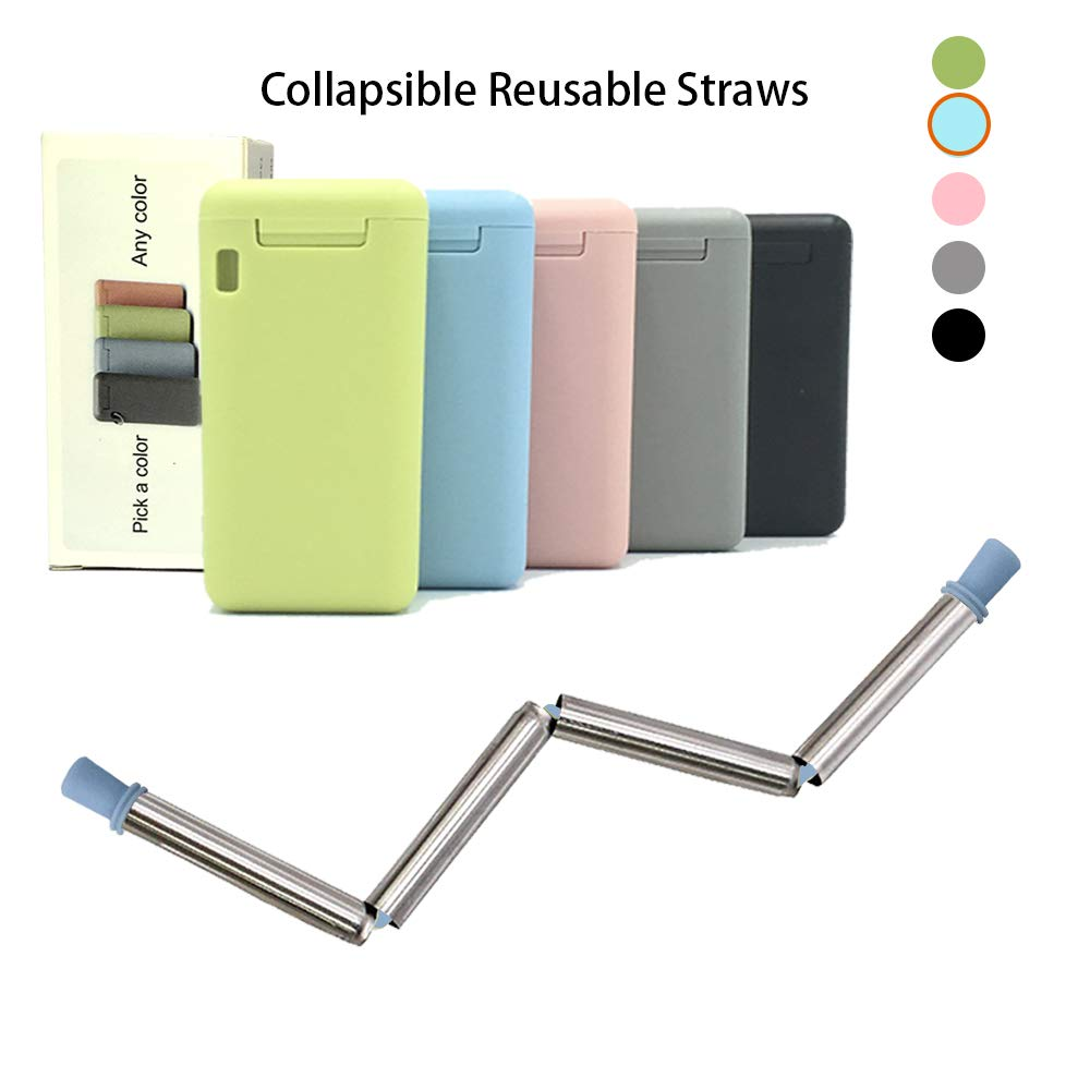 Final Collapsible Straw Keychain Stainless Steel Straws Folding Drinking Straws, Portable Travel Household Reusable Straws Medical-Grade Food-Grade Drinking Straws Have Cleaning Brush(Blue straw)