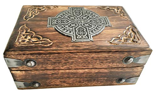 Wooden Carved Celtic Box W/Metal Cross-Trinket/Keepsake/Storage Box 6