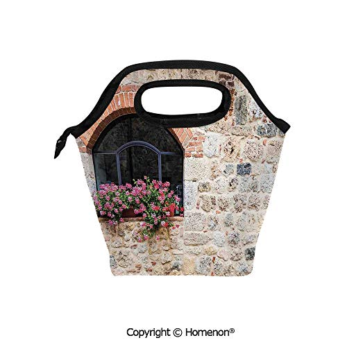 (Insulated Neoprene Soft Lunch Bag Tote Handbag lunchbox,3d prited with Gothic Architecture Abandoned Old Stone House Vintage Stairs in Tuscany,For School work Office Kids Lunch Box & Food Container)