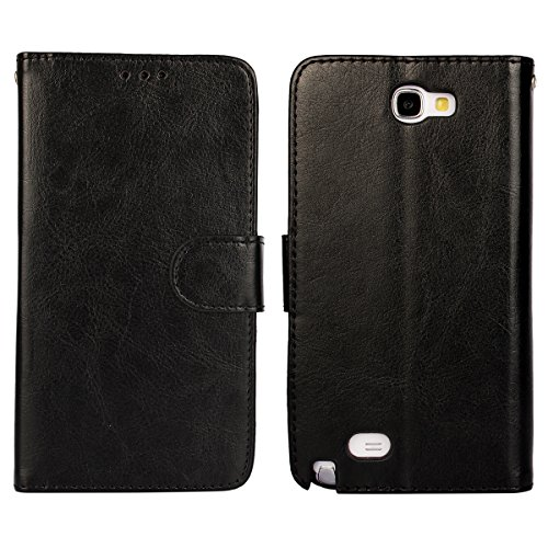 Note 2 Case, iCoverCase Crazy Horse Pattern PU Leather Wallet Case Flip Kickstand TPU Silicone Soft Cover for Samsung Galaxy Note 2 N7100 (Black) (Galaxy Note 2 Case Leather)