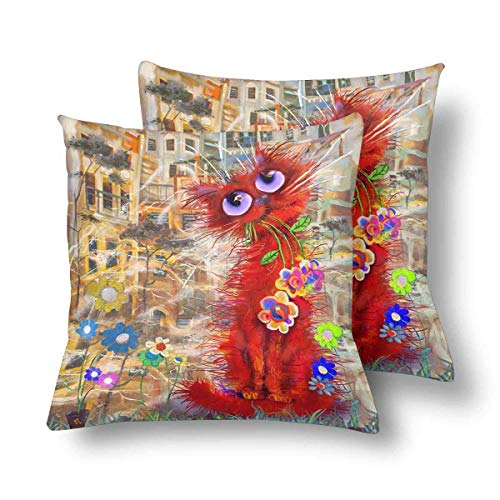 SPXUBZ Red Cat Beautiful Flowers Windy Street City Pillow Cover Home Decor Nice Gift Square Indoor Pillowcase Set of 2 (Two -