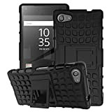 Sony Xperia Z5 Compact Case - MoKo Heavy Duty Rugged Dual Layer Armor with Kickstand Protective Cover for Sony Xperia Z5 Compact 4.6 Inch Smartphone 2015 Edition, BLACK