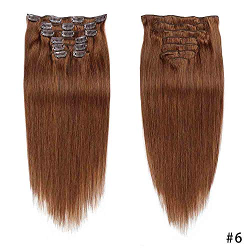 Digital Hair Extension - Jiameisi 100g Chestnut Brown Clip in Human Hair Extensions Full Head Double Weft Remy Human Hair Long Straight Clip in Hairpieces for Women (18''-100g #6)