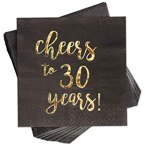(Blue Panda 100-Pack Gold Foil Paper Cocktail Napkins with Cheers to 30 Years! for Birthday and Anniversary Party Supplies, 5 x 5 Inches,)