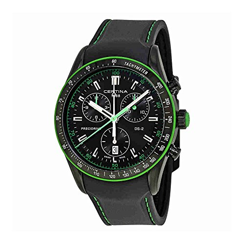 Certina Men's DS-2 Chronograph 1/100 sec 41mm Rubber Band IP Steel Case Quartz Watch C024.447.17.051.22