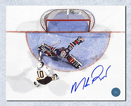 Mike Richter New York Rangers Autographed Overhead Breakaway Save 8x10 Photo - Autographed Hockey Photos - Autographed Rangers 8x10 Photo