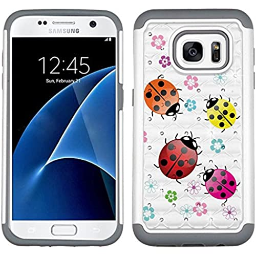 Fit Galaxy S7, One Tough Shield  Dual Layer Hybrid phone Case (Pearl White with Grey Silicone) for Samsung Galaxy S7 - (Ladybug) Sales