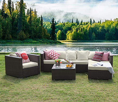 Tribesigns 6 Pieces Outdoor Patio Furniture Set, Rattan Wicker Sectional Sofa Patio Conversation Sets with Cushions and Glass Table (Beige) (Black Friday Patio Wicker Furniture)
