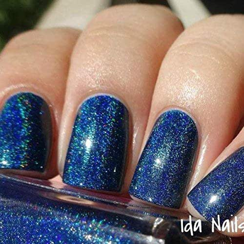 Navy Blue Holographic Nail
