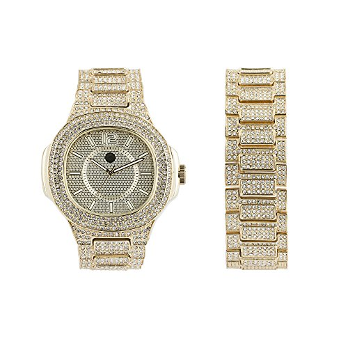 Men's Iced Out Hip Hop Watch, Square Dial with Metal Band and Simulated Diamond Crystals + Matching Bracelet, 2-Piece Gift Set - (Pave Crystal Watch)