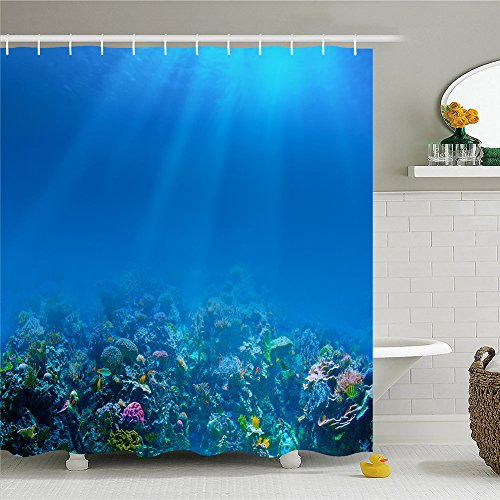 Inspirational Cute Sea Animal Multi-color Fishes Fabric Polyester Waterproof Shower Curtain-Bathroom Accessories 72x72 - Inspirational Bench