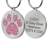 Didog Pretty Rhinestone Paw Print Round Pet ID Tags Dogs Cats,Free Engraved Gifts,Pink