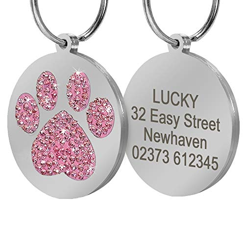 Didog Pretty Rhinestone Paw Print Round Pet ID Tags for Dogs and Cats,Free Engraved and Gifts,Pink