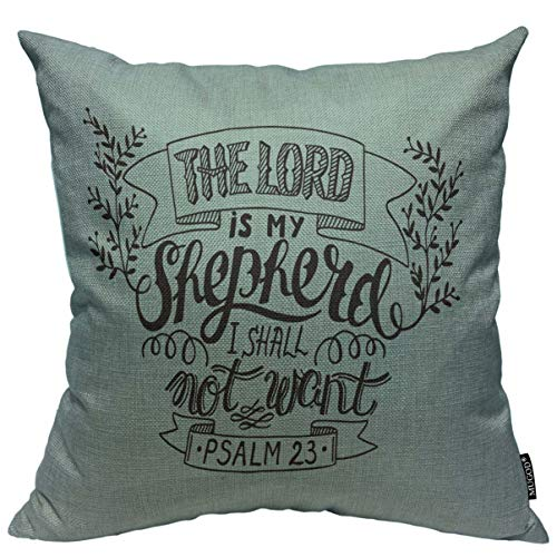 Mugod Throw Pillow Cover Lettering The Lord is My Shepherd I Shall Not Want Psalm Biblical Christian Bell Bible Home Decor Square Pillow Case for Men Women Bedroom Cushion Cover 18x18 Inch