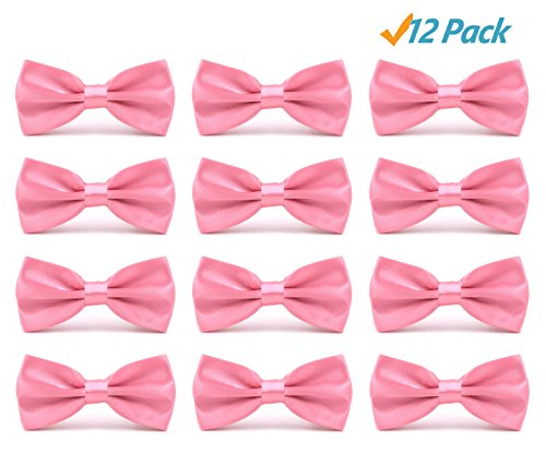 12pcs Men's Pre-tied Adjustable Formal Bow Tie Tuxedo Solid Bowtie by Avant Men (12 pack-Pink) (Pink Bowties)